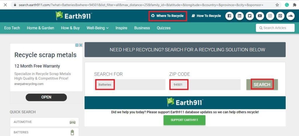 earth911 website
